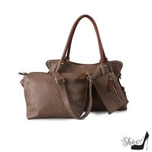 "My Bag Lady Online Bags - ""Brenda"" Large Hobo Satchel in Mocha (3 pc Set)"